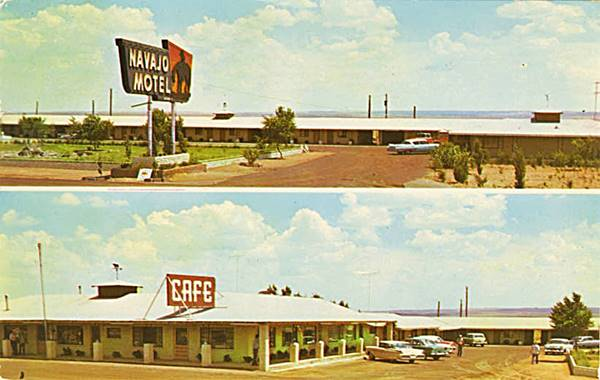 Postcard showing the old Navajo Motel on Route 66 in Navajo Arizona