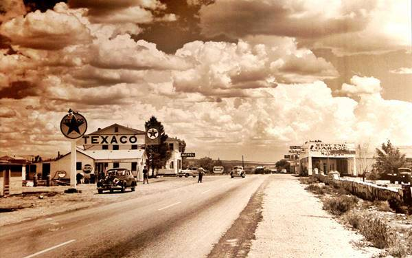 Looking West Along Route 66 In A 1947 Photo Seligman Arizona