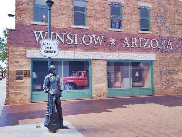 Standing on a Corner, mural and statue, Winslow, AZ. Route 66
