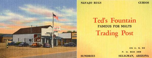 Ted's Fountain Trading Post in a 1940s postcard Seligman, AZ
