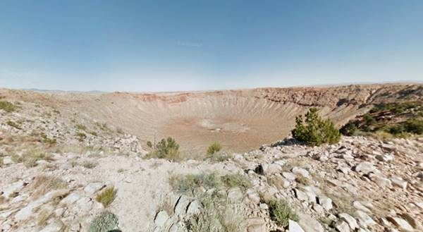 Google view from the Rim of Meteor Crater near Route 66, Barringer Crater, AZ