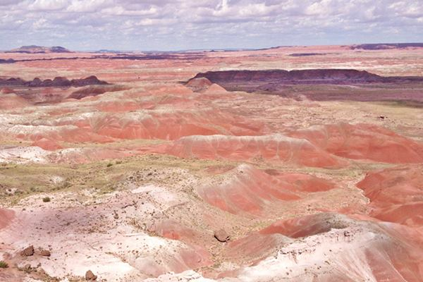 red, ochre, pink, white rocks and hills in the Painted Desert, Holbrook Arizona
