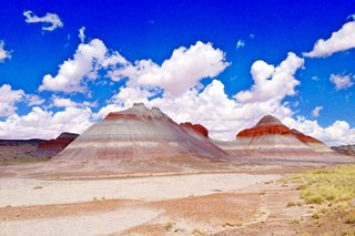 Blue Mesa region of the Painted Desert 'The Tepees', in Petrified Forest National Park, Arizona
