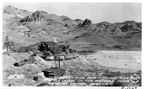 Ancient postcard showing Tom Reed mine in Oatman, Route 66, Arizona