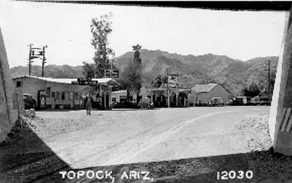 Old postcard showing Topock at the Railroad underpass, Route 66, Arizona