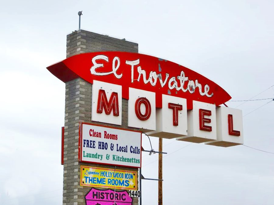 Neon sign in red and white of the Trovatore Motel