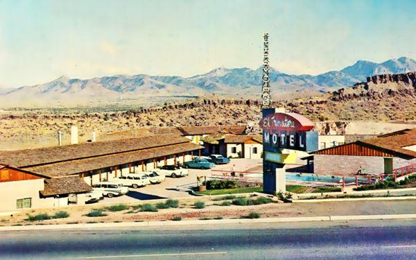 A 1950s postcard of the Trovatore Motel in Kingman, Route 66, Arizona