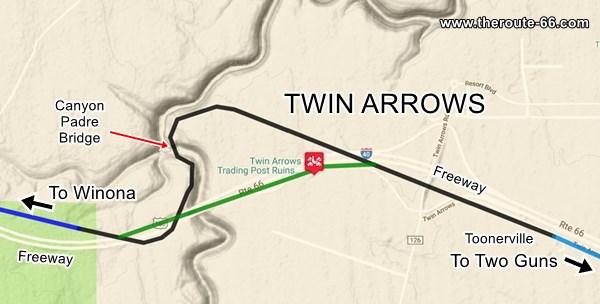Map of US 66 in Twin Arrows AZ