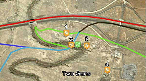 Map of US 66 in Two Guns AZ