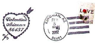 Valentine Arizona postmark