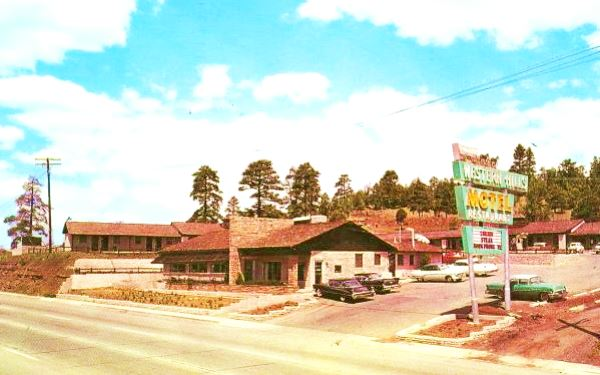 Vintage 1950s postcard of the Western Hills Hotel, Flagstaff Route 66, Arizona