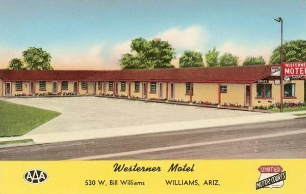vintage postcard of the Westerner Motel in Williams, Route 66, Arizona