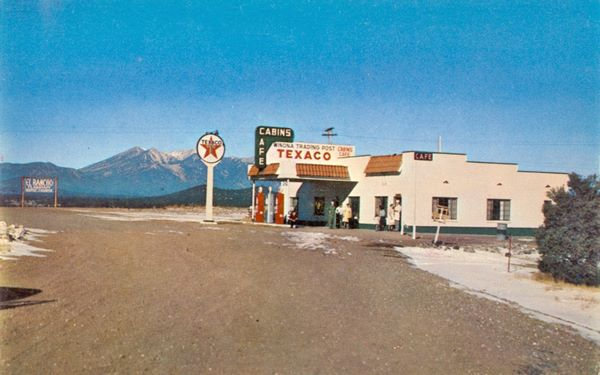 1946 photo of gas station and Winona Trading Post on Route 66, Arizona