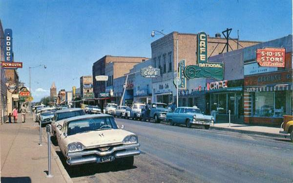 Downtown Winslow in the 1960s, a postcard of Winslow, AZ. Route 66