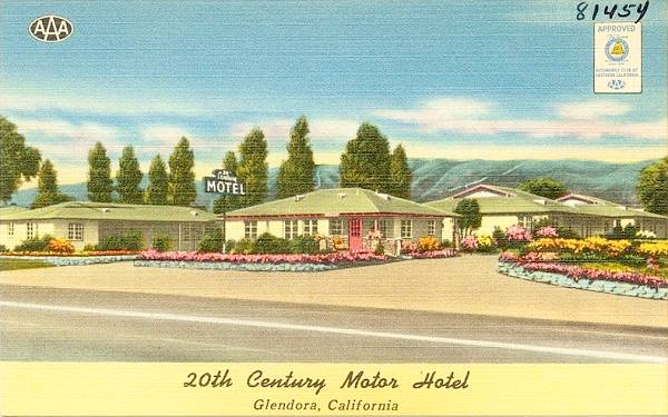 Old 1940s postcard showing The 20th Century Motel on Route 66 in Glendora, California