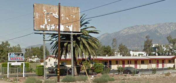 present appearance of the 40 Winks Motel in Fontana
