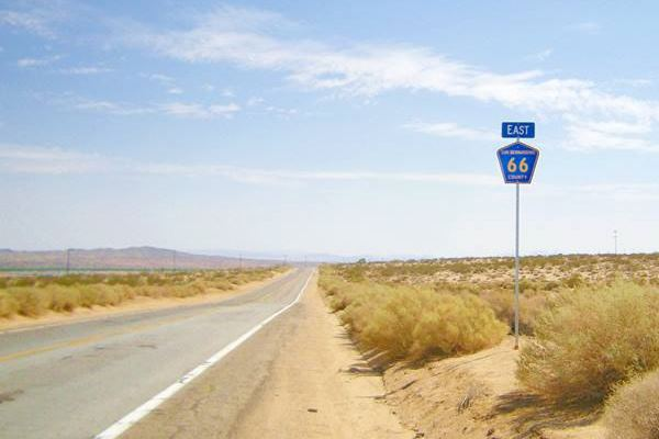 US66 preserved as CR 66 in San Bernardino: highway, desert and road sign