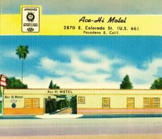 A vintage postcard of the Ace-Hi Motel in Pasadena