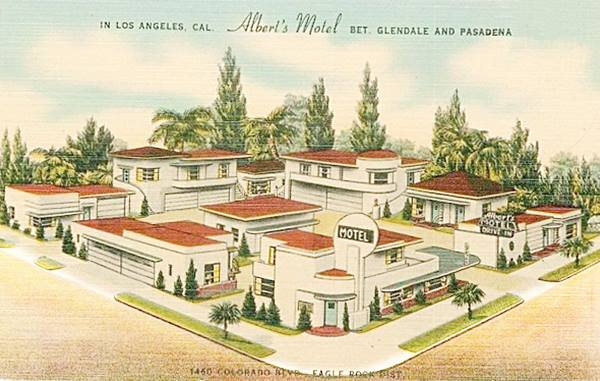 Antique postcard view of the Albert's Motel (now the Islander Motel)