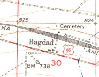 Bagdad in a USDS map of 1956