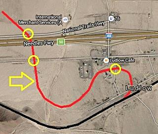 Route of the old Balloon Track of T and T railroad at Ludlow