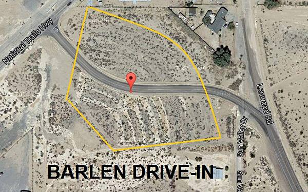 Satellite view of the former Barlen Drive-in at Lenwood, California
