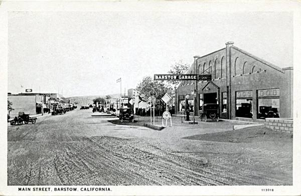 Old postcard showing the Barstow Garage on Route 66 in Barstow, California