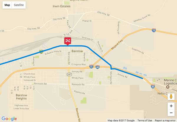 Map of US 66 in Barstow AZ