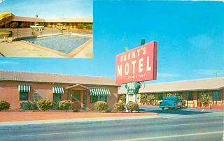 Brant's Motel Motel, Barstow, in a late 1950s postcard