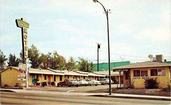 Old postcard showing the Cactus Motel on Route 66 in Barstow, California