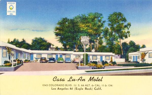 Antique postcard view of the Casa Lu-An Motel