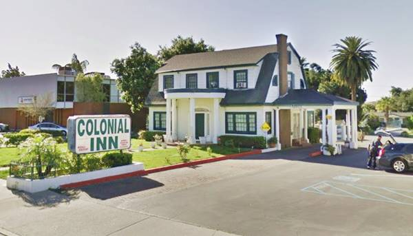 View of The Colonial Inn in Azusa, Route 66, California