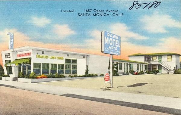 Old postcard of the Dawn Motel, today Chez Jay restaurant Santa Monica