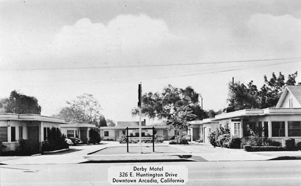 Old 1950s postcard showing the Derby Motel on Route 66 in Arcadia, California
