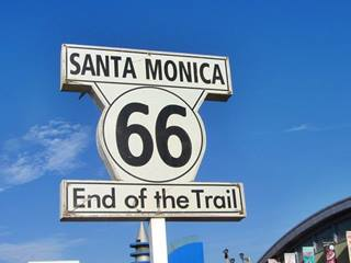 The end of the trail sign of Route 66 on the pier in Santa Monica