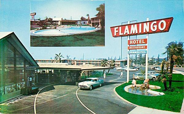 Old 1950s postcard showing the Flamingo Motel on Route 66 in Arcadia, California