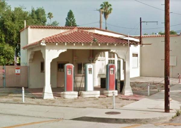 View of The Flying A Service Station in Monrovia, Route 66, California
