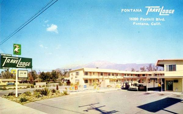 the old Travelodge in a vintage postcard, Route 66 in Fontana, California