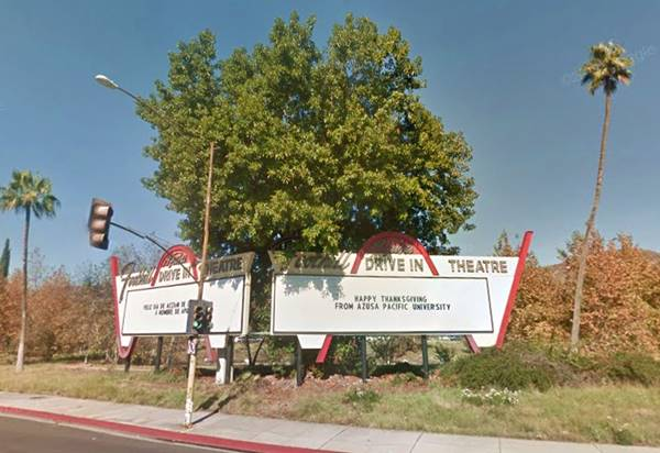 View of the sign of the Foothill Drive-In Theater in Azusa, Route 66, California