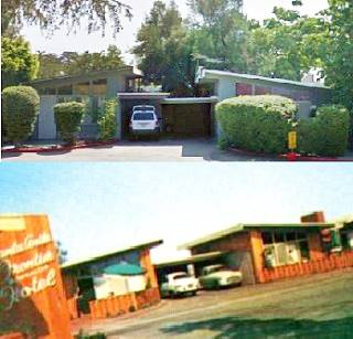 The old Frontier Motel in Arcadia, then and now
