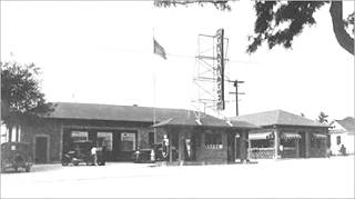 Historic service station and garage in Monrovia ca. 1920s