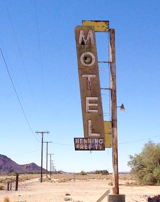 The old Henning motel sign in Newberry CA