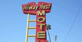 Antique sign of the Hiway Host Motel 66 in Pasadena, California