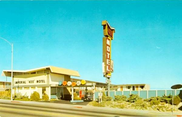 Old postcard showing the Imperial 400 Motel on Route 66 in Barstow CA