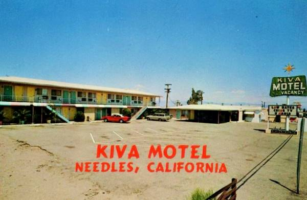 Old postcard showing the Kiva Motel in Needles, Route 66, California