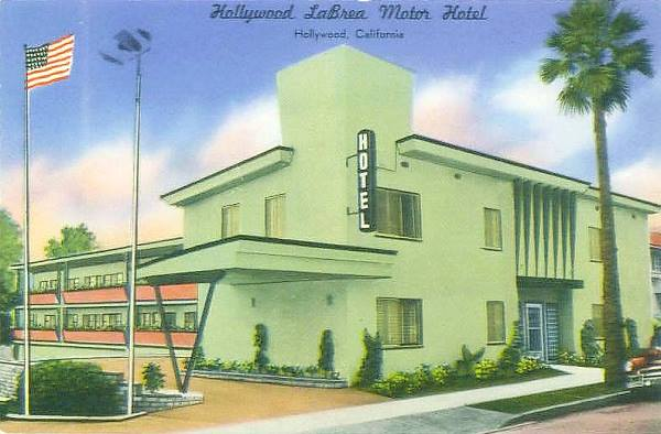 Antique postcard view of Hollywood La Brea Hotel