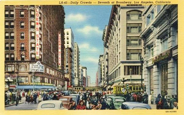 Antique ca. 1940s postcard view of the S. Broadway and 7th St. Los Angeles