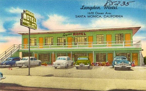 Old postcard of the Langdon Motel Santa Monica
