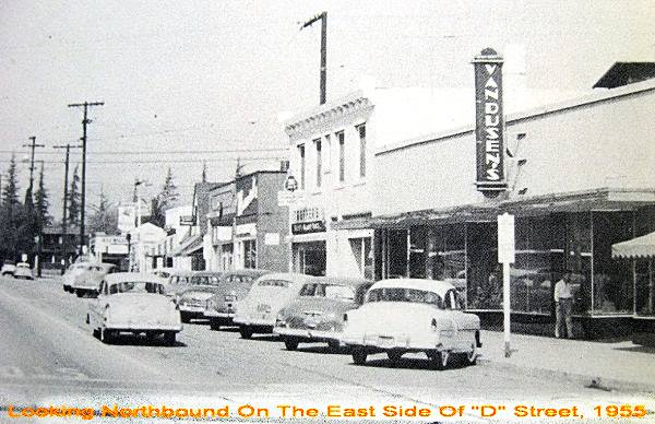 vintage 1955 view of downtown La Verne, along D Street in California