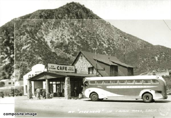 A 1940s photograph of Meekers Cafe in Cajon Pass, California